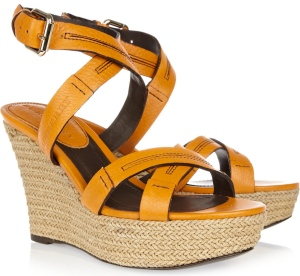 BURBERRY Leather espadrille wedge sandals