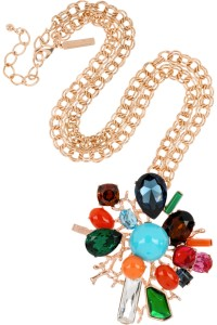 OSCAR DE LA RENTA 24-karat gold-plated crystal necklace