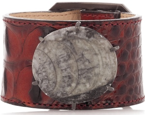 KELLY WEARSTLER Leather and fossil bracelet