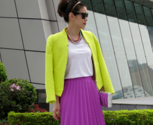 neon jacket outfit