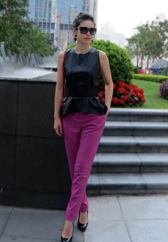 63f056b9 Top: Zara, great styles – lace peplum or lace and leather peplum, Bottom:  ASOS, Belt: GF Ferre, Shoes: Christian Louboutin, Bag: Prada 26 in.