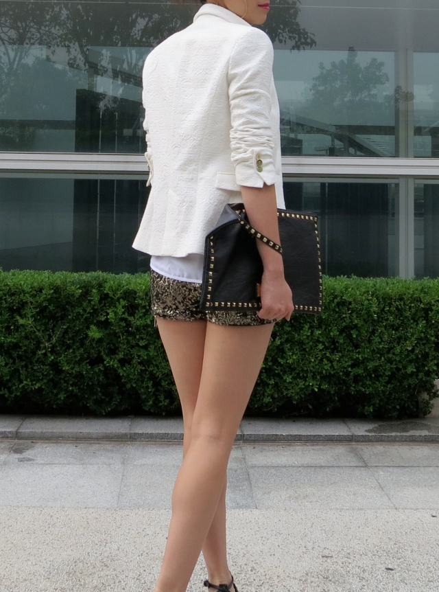 sequin shorts outfit